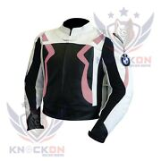 Womens Moto Jacket. Pink Bmw 3875 Real Cowhide Armoured Gear Racing Leather Coat