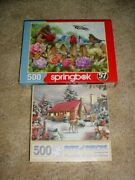 2 New 500 Piece Jigsaw Puzzles, Springbok, Birds, Bits And Pieces, Cabin, Deer
