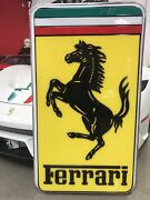 Big Ferrari Lighted Dealer Type Sign Showing Very Little Use Approx 4 X 3 Ft.