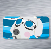 Huskies Dog Wind-proof Glasses Pet On License Plate Car Front Auto Tag