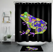 Colorful Ethnic Pattern Tattoo Frog Shower Curtain Bathroom Accessory Sets