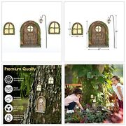 Fairy Door And Window For Trees - Glow In The Dark Sculpture Decor Garden Fairy.