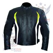 Bike Leather Jacket. Bmw 3876 Fluorescent Thick Cowhide Gear Armoured Moto Coat