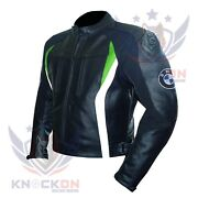 Motorcycle Stuff. Bmw 3876 Green Thick Cowhide Leather Gear Armoured Jacket Coat