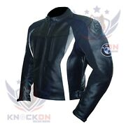 Mens Moto Jacket. Bmw 3876 Grey Thick Cowhide Genuine Leather Gear Armoured Coat