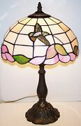 Stunning Style Stained Glass Hummingbird With Metal Base 19 Lamp