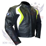 Jacket For Motorcycle. Bmw 3877 Fluorescent Leather Coat Thick Biker Armour Gear