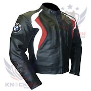 Red Leather Motorcycle Jacket Bmw 3877 Thick Cowhide Coat Armour Biker Race Gear