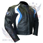 Motorcycle Safety Gear. Bmw 3877 Sky Blue Thick Cowhide Coat Armour Biker Jacket