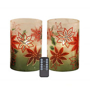 Urchoice Flickering Flameless Candlesred Gradient Crackle Glass Led Candles And