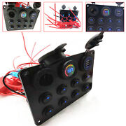 8 Gang Blue Led Dual Usb Charger Rocker Switch Panel Circuit Breaker Car Boat