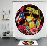 Funny Red Eyed Tree Frog Flowers Shower Curtain Puerto Rico Flag Bathroom Decor