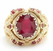 13.29ct Natural Oval Cut Red Ruby Diamonds Real Solid 14k Yellow Gold Menandrsquos Ring