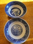 Set Of 2 Homer Laughlin Blue Willow China Dishes L48 N6.