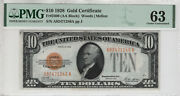 1928 10 Gold Certificate Note Fr.2400 Aa Block Pmg Choice Unc 63 246a
