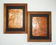 Vintage Wood Framed Copper Etching Asian Japanese Male And Female Figures Set