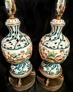 Antique Capodimonte Porcelain Lamps Pair Cherebs In Garden Marked Lbs Italy T925