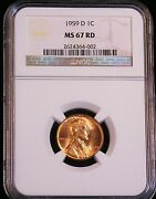 1959-d Lincoln Cent Ngc Ms67 Bright Red With Superb Luster, Pq Ge224
