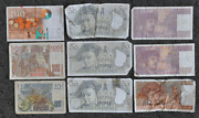 France 10 20 50 And 100 Francs 9 Notes Currency 1948-1997