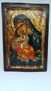 Antique Byzantine Ikone 19crussian Grecce Orthodox Icon Hand Painted Our Lady