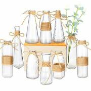 Nilos Glass Vases Set Of 10 Clear Glass Flower Vase With Rope Design And Differ