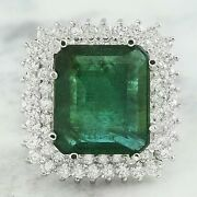 9.01 Ct Asscher Cut Natural Emerald Real Solid 14k White Gold Diamond Ring
