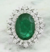 7.12 Ct Oval Cut Natural Emerald Real Solid 14k White Gold Diamond Ring