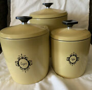 Mid Century Modern 3 Canister Harvest Yellow West Bend Set Black Knobs And Decal