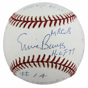 Cubs Ernie Banks Career Statand039 Authentic Signed Oml Baseball Bas Z28611