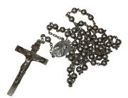 19th Century Sterling Silver Bead Rosary Necklace With Crucifix