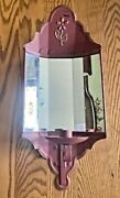 Vintage Homeco Home Interior Rust Tin Metal Antiqued Mirrored Candle Wall Sconce