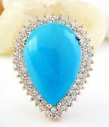 13.51ct Pear Cut Natural Blue Turquoise And Diamond Real Solid 14k Rose Gold Ring