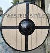 Handmade Natural Viking Crusader Wood Shield Medieval Round Battle Warrior