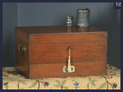 Antique Anglo-indian Victorian Colonial Campaign Teak And Brass Writing Box Chest