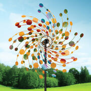 Metal Kinetic Rotating Wind Spinner Outdoor Lawn Garden Decor Patio Stake 32 In