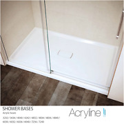 Acryline White Gloss Alcove Low Threshold Shower Bases W/tile Flange Concealed