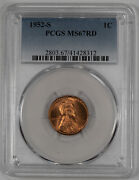1952 S Lincoln Wheat Cent Penny 1c Pcgs Certified Ms 67 Red Mint State Unc 312