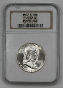 1952 S Franklin Half Dollar 50c Ngc Certified Ms 67 W Mint State Unc White 008