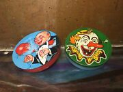 Lot Of 2 Vintage Tin Litho Noisemakers Clown Face And Balloon Popping Party 🎈