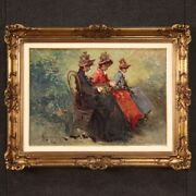 Signed Painting Belle Époque Style Framework Oil On Canvas Girls Ladies Women