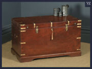 Large Antique Victorian Anglo Indian Colonial Campaign Teak And Brass Chest Trunk