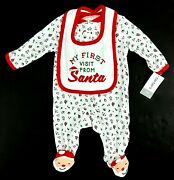 Carters Babys 1st Christmas 1pc W/ Bib Size 3 Months My First Visit From Santa