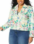 Colleen Lopez Edgy Printed Faux Leather Moto Jacket 2x New Blush Floral