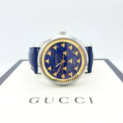 G-timeless Blue Lapiz And Gold Bee Pvd W/blue Strap Unisex Watch-38mm Ng105