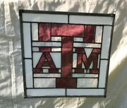 Texas Aandm Aggies Stained Glass Panel 13x14