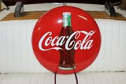 1950and039s Vintage Coca-cola Soda Advertising Porcelain Round Button 24