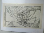 Original Vintage Map Of The National Railways Of Mexico - 1910