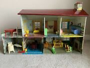 Vintage Marx Tin Litho Dollhouse And Furniture Lot 1957 Antique Toys. See Notes