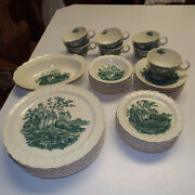 40pc Rare Green Castle Tst Taylor Smith Dinner And Bread Plates Fruit Bowls And Cups