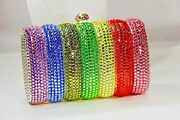 Fully Crystallized Evening Bag Rainbow Colors Clutch Purse W/ Crystals